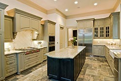 Granite kitchen green cabinets Exclusive Marble & Granite Greensboro
